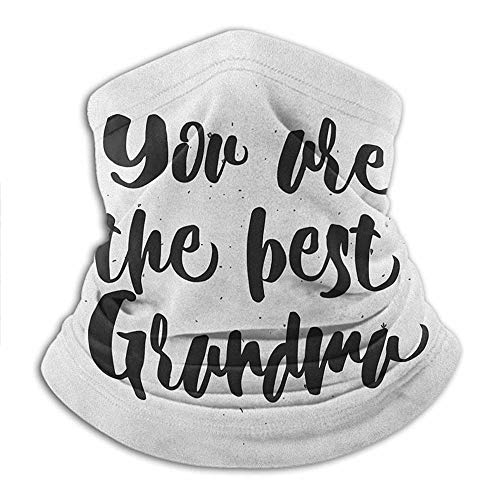 Headwear Monochrome Quote About Best Grandmother on a Grunge Inspired Dotted Background Cooling Sunblock Face Scarf Face Dustproof Windproof UV Protection 10 x 11.6 Inch