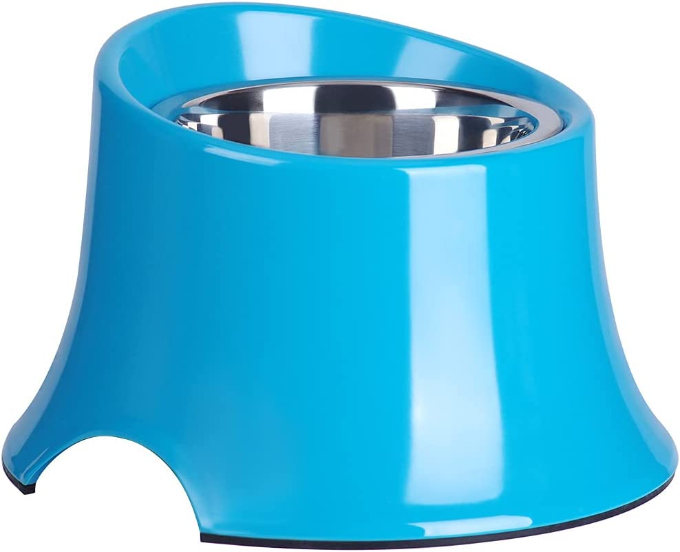 Kitchen & Dining : Super Design Elevated Dog Bowl Raised Dog Feeder for Food and Water, Non Spill Edges & Non Skid Sturdy Melamine Stand, Reduce Neck Stress, Less Regurgitating and Vomiting 2.5 Cup Blue :