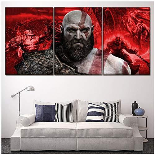 God of War Kratos Poster Games Karakter Schilderen Thuis Decoratieve muur Kunst Een Set 3 Panel Canvas HD Gedrukte Afbeeldingen -50x70cm Geen Frame