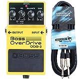 Boss ODB-3 Bass Overdrive Verzerrer Effektgerät für Bass + keepdrum Klinken-Kabel 3m...
