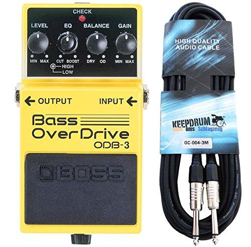 Boss ODB-3 Bass Overdrive Verzerrer Effektgerät für Bass + keepdrum Klinken-Kabel 3m
