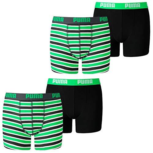 PUMA Jungen Boxershort Basic Boxer Printed Stripe 4er 6er 8er Multipack 128 140 152 164 176 Uni Gestreift 95% Baumwolle ohne Eingriff, Größe:134-140, Packgröße:4 Stück, Farbe:Classic Green (003)