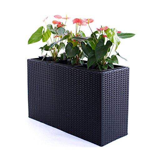 Pflanztopf Blumentopf Pflanzkasten Blumenkasten Polyrattan Rechteck LxBxH 82x30x50cm schwarz