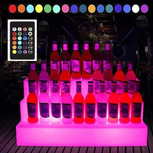 AWCPP Soporte de Exhibición de Botella Led Rgb de 3 Niveles, Estante de Licor Luminoso Cambiante de Luz Colorida para Cerveza, Vino Tinto, Sidra Y Más en el Bar de Fiesta Ktv,Blanco,Los 65 * 30 * 30C