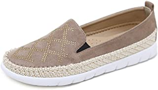Women's Casual Shoes New 2019 Suede Loafers & Slip-Ons Rhinestone Hemp Rope Shoes Fashion Deck Shoes Beige Black Red,Beige,36