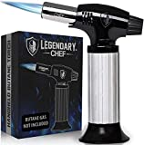 Culinary Cooking Torch - Kitchen Food Torch for Creme Brulee, Baking, Desserts and Searing- Butane Torch Lighter, Blow Torch for Cooking with Lock and Adjustable Flame (Butane Gas Not Included) Black