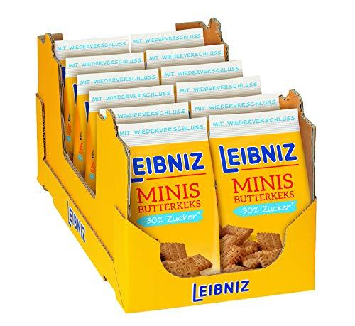 Leibniz Leibniz minis -30% Zucker - Original Butterkeks mit weniger Zucker - Keks für die ganze Familie - zu Hause & unterwegs, 12er Pack (12 x 125 g)