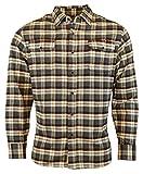 Jachs Men's 9oz Cotton Flannel Brawny Flannel Shirt Button Down (Medium, Cream/Grey/Rust)