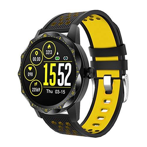RongWang Fitness Reloj Inteligente a Prueba de Agua Grabación de frecuencia cardíaca Bluetooth Deporte Hombres Reloj Inteligente para iPhone Android (Color : Yellow)