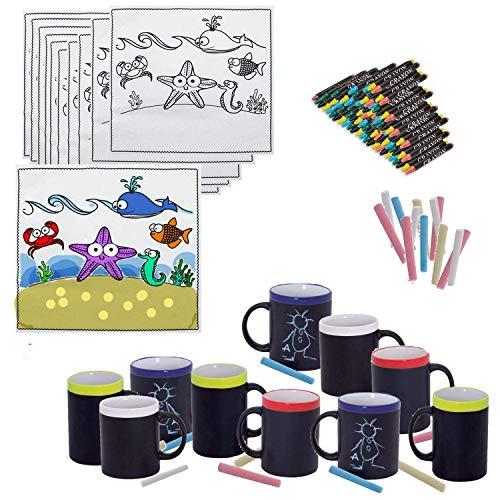 |Pack para Meriendas, 20 Tazas de Pizarra y Tizas a Juego y 20 Manteles de Animales Marítimo cumpleaños Infantiles colegios