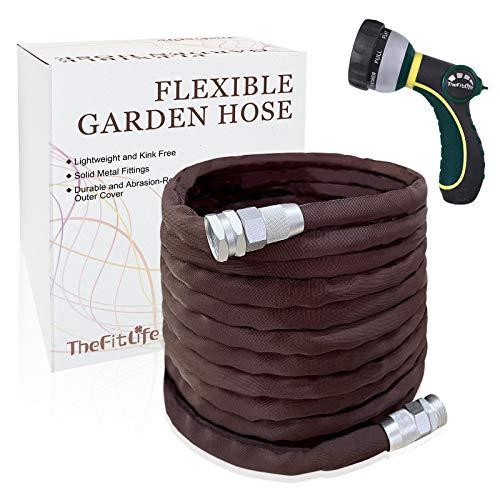 Manguera de jardín flexible y duradera TheFitLife: con boquilla multifunción y accesorios de metal sólido, resistente al desgaste, a prueba de fugas, sin pliegues, fácil almacenamiento