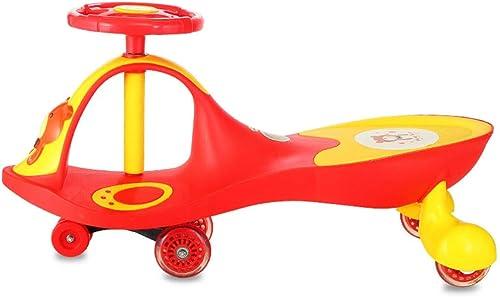 Kinder Dreirad Twist-Car Schaukel Spielzeugauto Sicherheitswanderer Musik Eltern-Kind-Spiel tragend 100kg 1-3-6 Jahre alt Geburtstagsgeschenk (Farbe   rot, Größe   27  78.5  41cm)