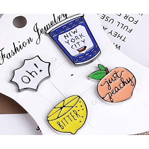 JTXZD broche 4-6 stks Mode Zon Cactus Cola Ijs Emaille Pin Broche Pins Voor Vrouwen Meisjes Tassen Sjaal Rugzak Badges