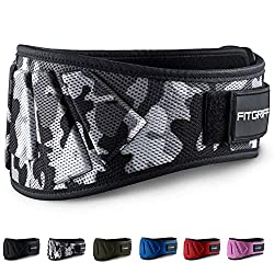 Fitgriff® weight lifting belt V1 - fitness belt for bodybuilding, strength training, weight lifting and crossfit training - training belt for women and men (camo gray, M)