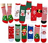 Ultra Thick Baby Toddler Kids Christmas Holiday Winter Warm Cute Xmas Festival Socks for Children Girls Boys (S, A set of 12 pairs)