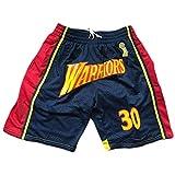anking Deportes NBA Warriors Curry Blue Ball Pantalones Retro Zip Bordado Bolsillo Bolsillo Baloncesto Shorts Y Cordón, No Se Desvanece, No Se Encoge, Lavable A Máquina,A,L