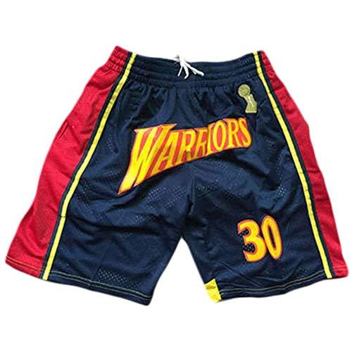 anking Deportes NBA Warriors Curry Blue Ball Pantalones Retro Zip Bordado Bolsillo Bolsillo Baloncesto Shorts Y Cordón, No Se Desvanece, No Se Encoge, Lavable A Máquina,A,S
