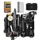 EgoIggo Kit de Supervivencia Profesional 18 en 1, Incluido Kit de Encender Fuego y Manta de Emergencia, Equipo de Supervivencia de Emergencia para Viajar Caminar Acampar al Aire