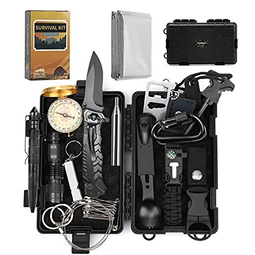 EgoIggo 18 PCS Kit Sopravvivenza Professionale, Survival Kit di Pronto Soccorso di Emergenza, Kit Emergenza Multiuso per Campeggio con Braccialetto di Sopravvivenza, Bussola, Torcia ECC