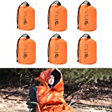 Pack of 6 Hooded Emergency Bivy Sack Survival Sleeping Bag with Hood | Thermal Blanket | Waterproof Breathable| for Camping, Hiking and Any Outdoor Activities.