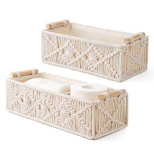 Mkono Macrame Storage Baskets Decor Box Handmade Woven Decorative Countertop Toilet Tank Shelf Cabinet Organizer Boho Decor for Bedroom Nursery Livingroom Set of 2 Ivory
