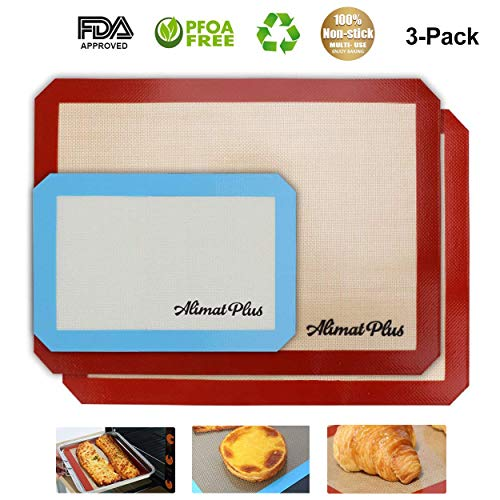 Silicone Baking Mat Set of 3 -Two Half and One Quarter Non Stick Sheet Sets - Reusable, Non-Toxic, BPA Free Rolling Pan and Cookie Sheet Liners, Small and Large - Cooking Supplies and Accessories