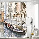 ZSQQSCL Duschvorhänge,Individuellkeit Ölmalerei Stil Einfach Stadt Venedig Architektur Muster 100prozent Polyester Material Schimmelresistent Wasserdicht Badezimmer Vorhänge Mit 12 Stück Haken Datenschutz F
