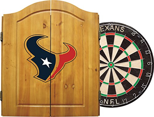 Imperial Official NFL Dart Boards for Adults with Cabinet, 6 Steel Tip Darts, Chalkboard Scorers ,Houston Texans - Professional Bristle Dartboard Set - Premium Game Room Accessories and Decor