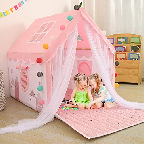 YOIKO Kids Tents Indoor Playhouses Girls 9.9Ft Star String Lights Pink Tent for Girls Upgraded Large...