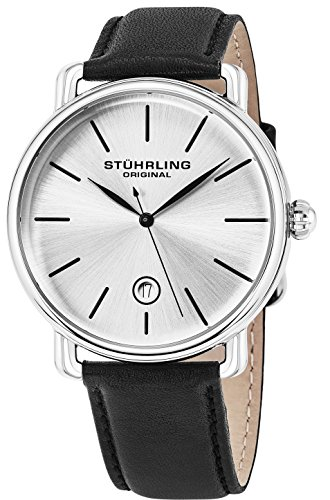 Stuhrling Original Mens Watch Calfskin Leather Strap - Vintage Style Lugs - Analog Watch Dial with Date, 3913 Watches for Men Collectio