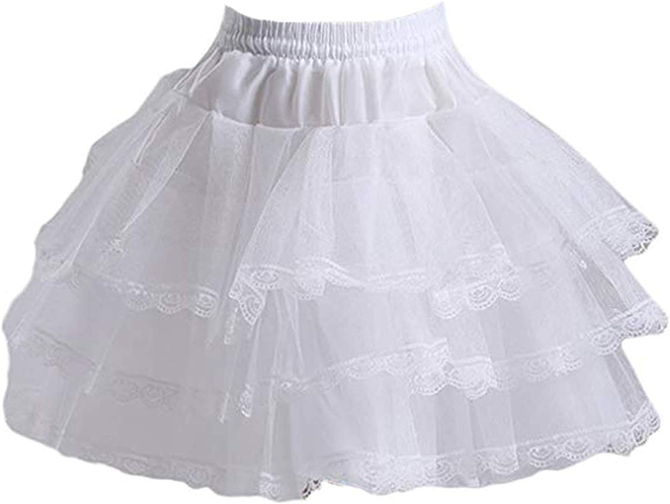 ZoyHouse 3 Layers Girls Slip Flower Girl Petticoat Crinoline Hoopless Skirt Underskirt for Kids CQC2