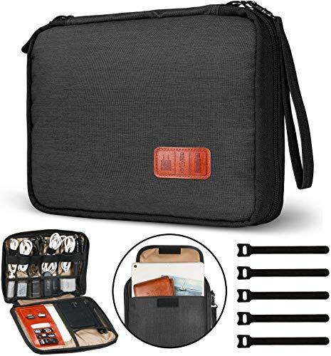 GiBot Elektronik Kabeltasche für Kabel,FlashDisk,USB,Powerbank,iPad Mini,Double Layer (Schwarz Groß)