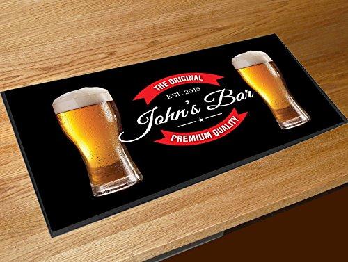Artylicious Tovaglietta da Bar con Bicchieri di Birra Personalizzabile, Colore: Nero