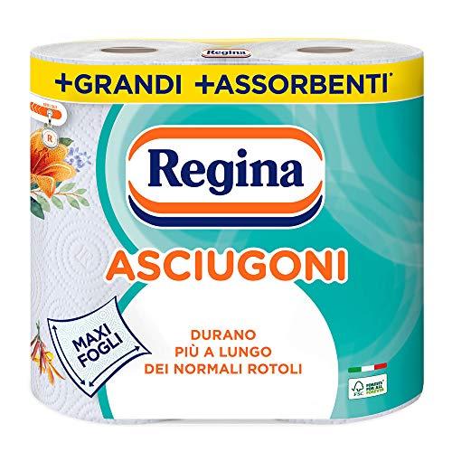 Regina Asciugoni Carta Cucina | Confezione da 2 Rotoli a 2 veli | 85 strappi per rotolo* | Maxi Fogli più Grandi e più Assorbenti | Carta 100% certificata FSC