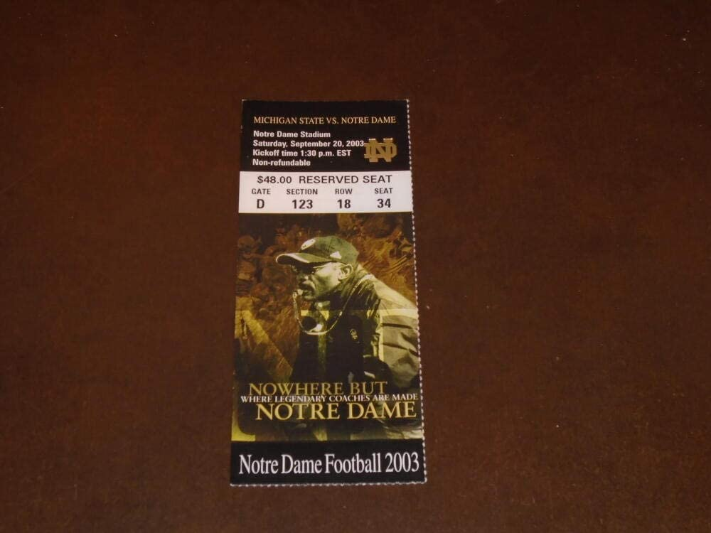 2003 NOTRE DAME Max 63% OFF VS MICHIGAN COLLEGE FOOTBALL TICKET Large special price STUB STATE