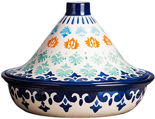 WANGP Tagine Cooking Pot With Lid, Lead Free Hand Made And Hand Painted Cooking Tagine Stew Casserole Slow Cooker For Home Kitchen