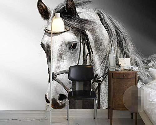 Achtergrond 3D woonkamer zwart en wit klassiek schetsen paard persoonlijkheid kunst achtergrond decoratie huis foto 200*140cm #005