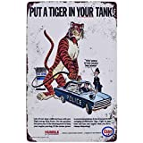 Flytime Esso Put A Tiger in Your Tank Vintage Metal Tin Sign Funny Animal Wall Decorative Signs Coffee Signs Kitchen Decor 8X12Inch