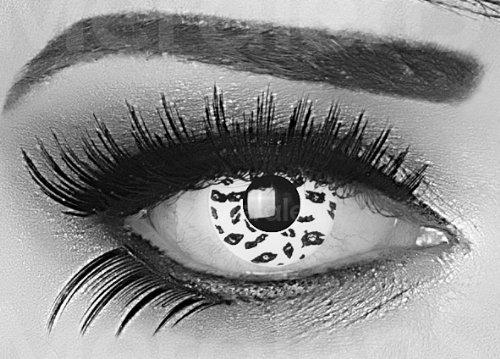 1 Paar farbige schwarze weisse Crazy Fun 14 mm White Leopard Jahres Kontaktlinsen mit gratis Linsenbehälter. Perfekt für Fasching, Halloween, Karneval.