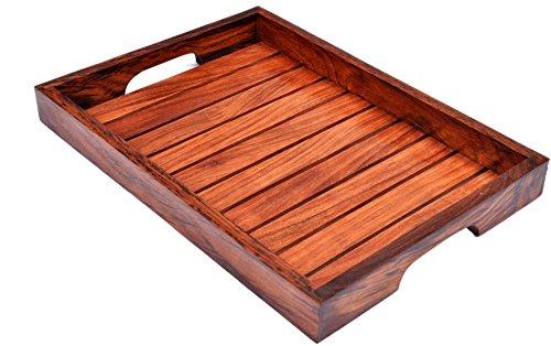 Holz-Serviertablett, Palisander Sheesham Holz Indische Handarbeit für Serviertablett/Esstisch., Palisander, Style 2, 14x10 inch