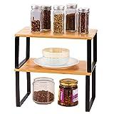 HAITRAL Counter Shelf Organizer | Bamboo Kitchen Cabinet, Shelf Insert in Kitchen Cupboard Expandable Stackable Organizer, Set of 2