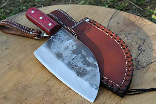 Official ALMAZAN KNIVES Hand Forged Kitchen Chef Knife in High Carbon Steel with Original Leather Sheath
