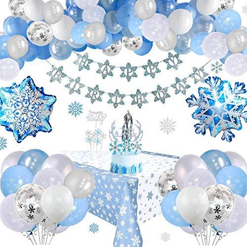 Copos de nieve Decoraciones de cumpleaños Globos de fiesta congelados Globos de látex azul blanco plateado para niña Mujer Fiesta de cumpleaños Fondo de mantel