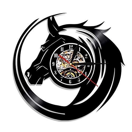 LKJHGU Arte de Pared de Caballo Abstracto Reloj de Pared con Cabeza de Caballo Salvaje Decoración de Pared Ecuestre Reloj Moderno Reloj de Vinilo Reloj para Amantes de los Caballos Regalos