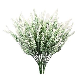 Silk Flower Arrangements TYEERDEC Artificial Flowers 6 Bundles Lavender Bouquet for Wedding Home Office Decoration - White