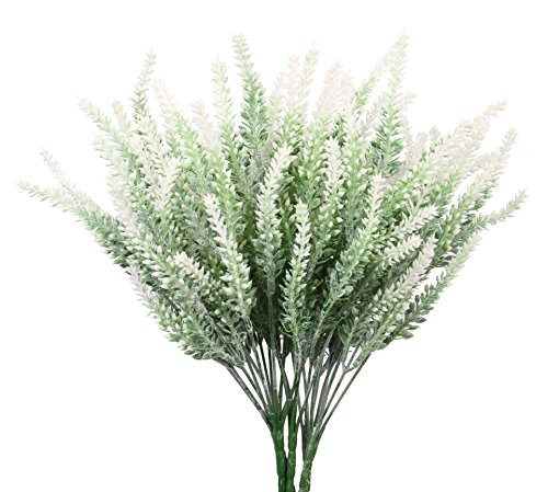 TYEERDEC Artificial Flowers 6 Bundles Lavender Bouquet for Wedding Home Office Decoration - White