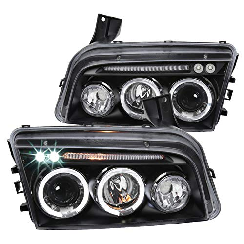 Spec-D Tuning Projector Headlights Black for 2006-2010 Dodge Charger Head Light Assembly Left + Right Pair