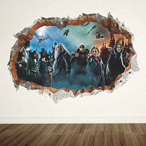 LIZHIOO Etiqueta de la Pared 3D Harry Potter Hole Poster Hogwarts Pegatinas de Pared Mundo Mágico Decoraciones Escolares for Niños Tatuajes de Habitación Decoración Decorativa