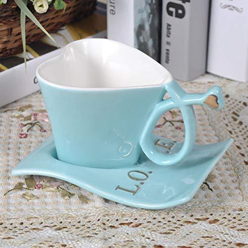 XJYJF Juego de taza de café inglés por la tarde en forma de corazón, taza de pareja y platillo, juego de café regalo para los amantes del barco de la gota de la nave, rosa, cerámica (color: azul)