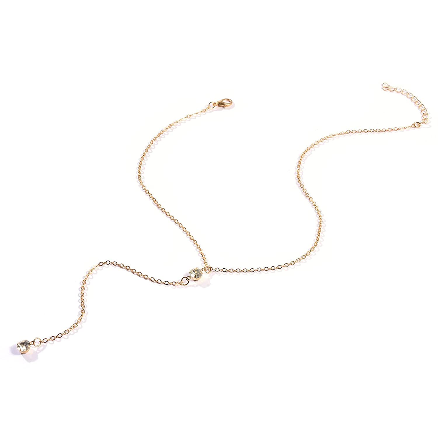 TseanYi Crystal Drop Chain Necklace Rhinestone Dot Pendant Necklace Gold Y Lariat Necklaces Boho Jewelry for Women and Girls (Gold)